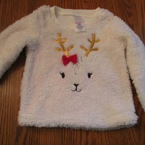 NWOT Toddler White Fleece Holiday Top Sweater 3T